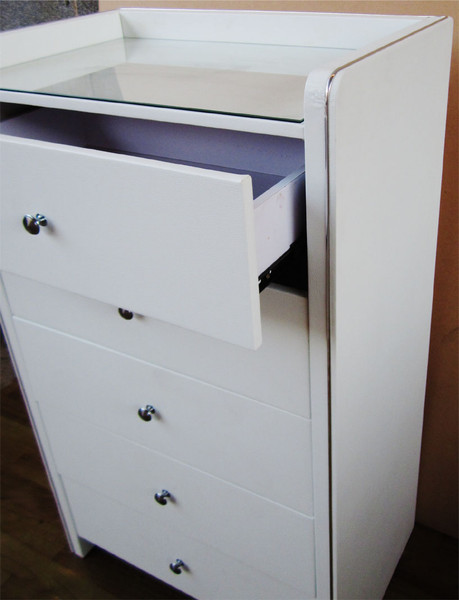 Leather look tallboy 5 drawers of chest