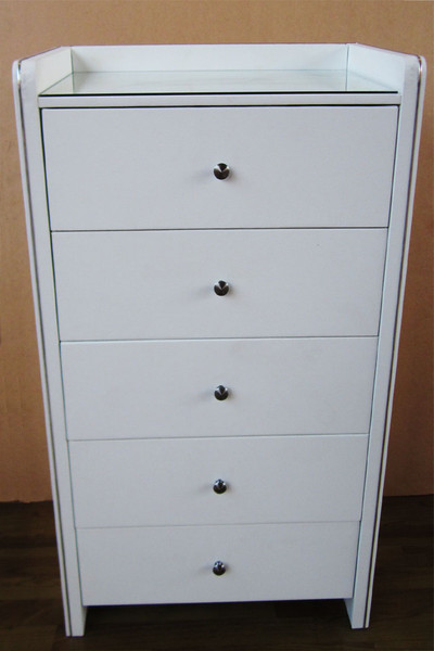 white leather tallboy