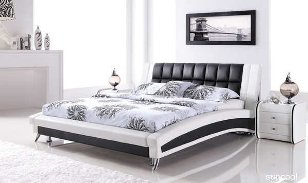 white black leather queen size bed