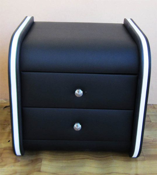 black bedside table with white strip