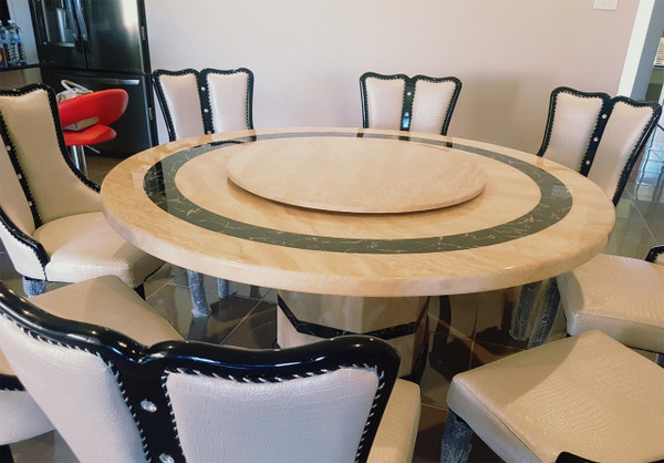 1.5M Round marble Dining table + 8 chairs