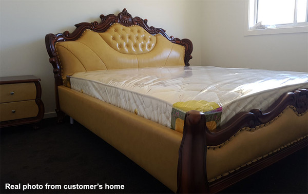 Delux timber leather king size bed