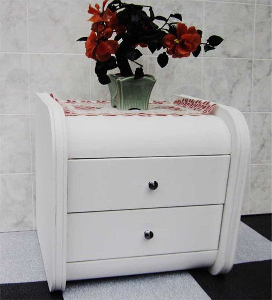 full white leather bedside table
