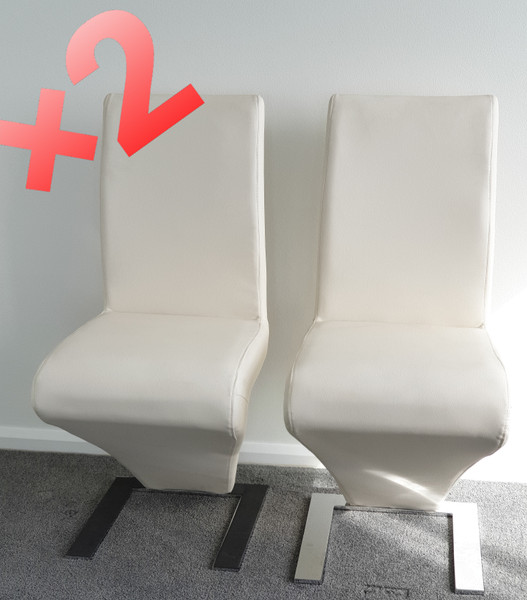 "Modern""Z"" OFF white Dining chair X 2"