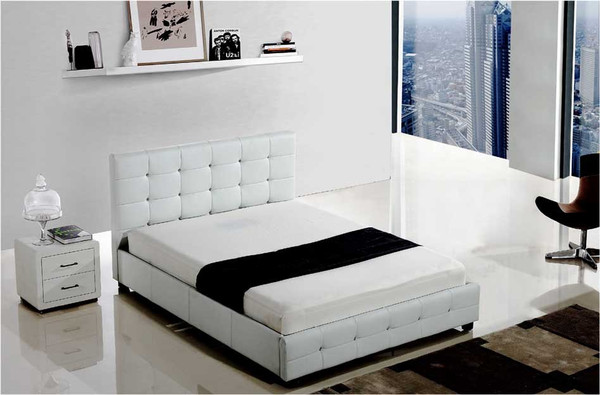 Queen leather look bed