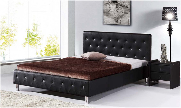 Black queen leather look bed