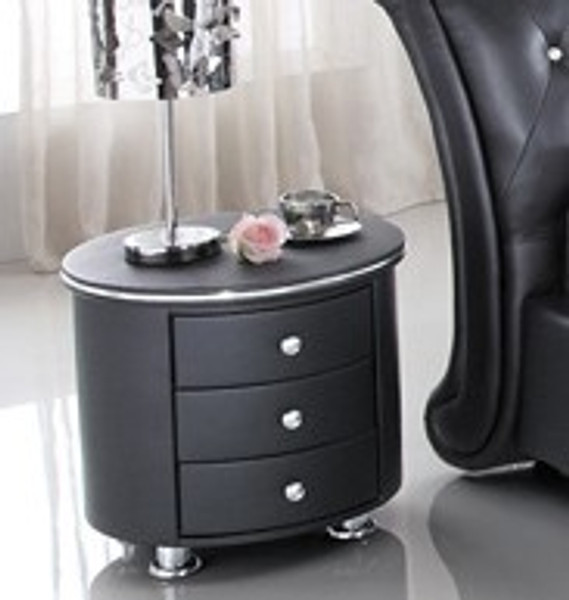 Black round bedside table