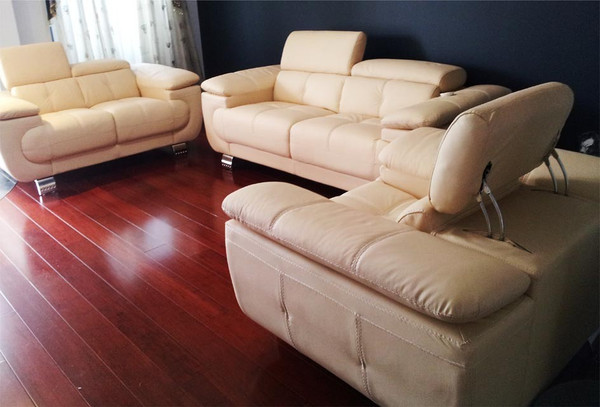 Cream leather lounges