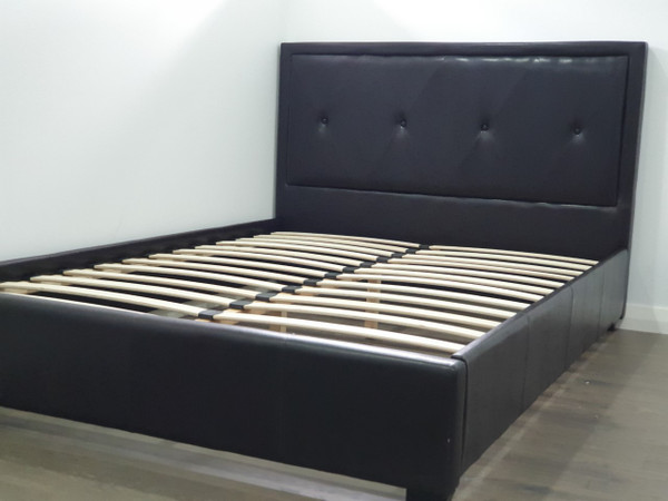 Double  size Shiny PU brown bed