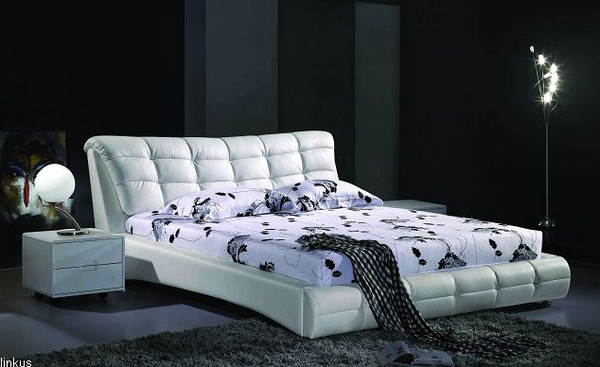 White King size Leather bed Venus