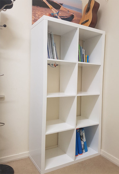 White book case display unit with 8 cubic