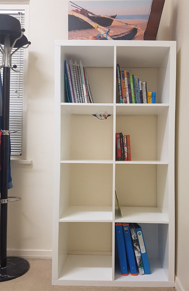 cheap display unit with 8 cubic shelves.