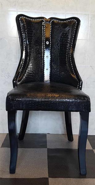 Black shiny PU dining chair
