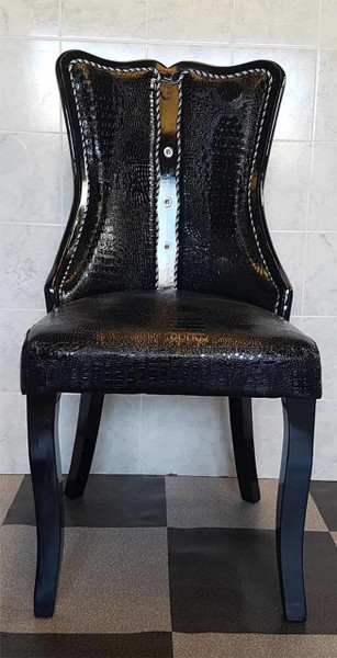 Black shiny PU dining chair
