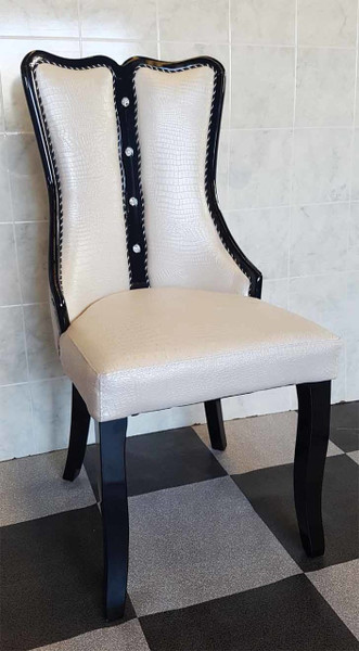Wooden and leather look dining chair