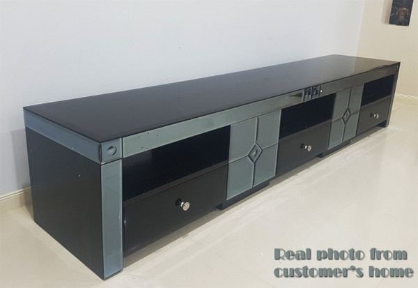 2 meters black glass TV unit