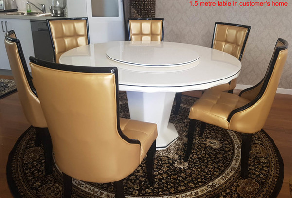 1.3M Round Marble dining table+ 6 chairs