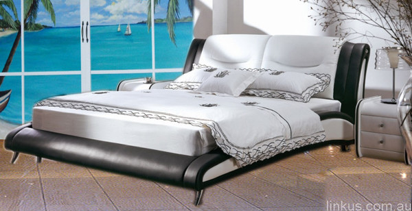 White black king size leather bed