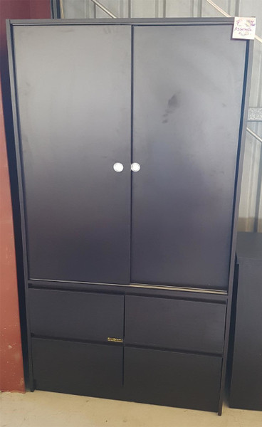 Wardrobe  with 2 Sliding doors,White/Brown