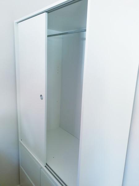 Wardrobe  with 2 Sliding doors,White/Brown