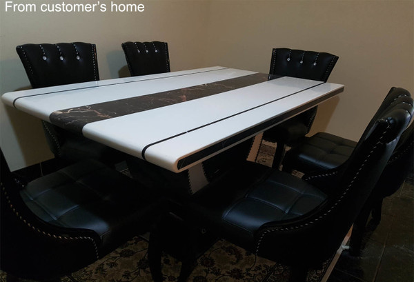 U base 1.6M Marble Dining table +6 chairs