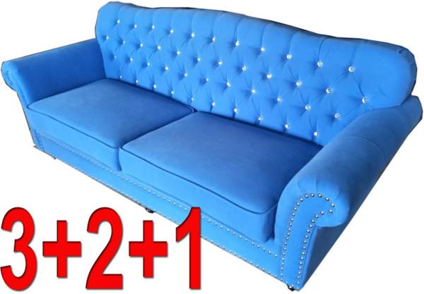 Blue Classic 3+2+1 fabric lounge