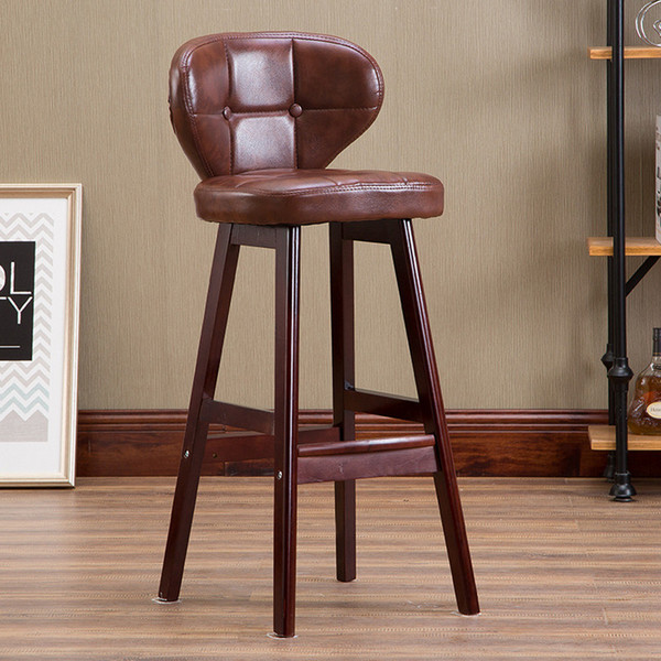 Solid wood frame leather look bar chair stool