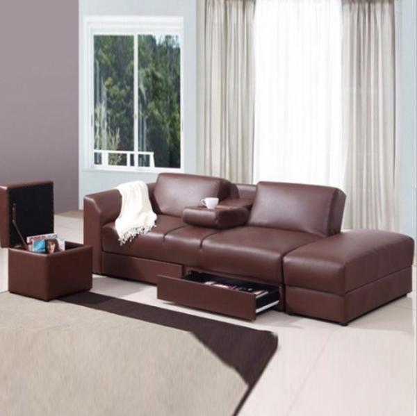Multi-purpose  PU sofa bed with storage drawer LAST 1 set BROWN