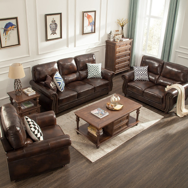 genuine leather sectional sofa set luxury vintage for living room