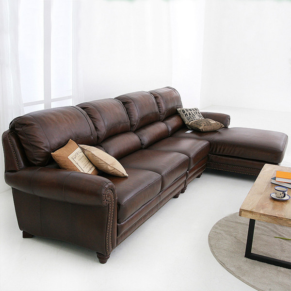Genuine leather classic style living room sofa