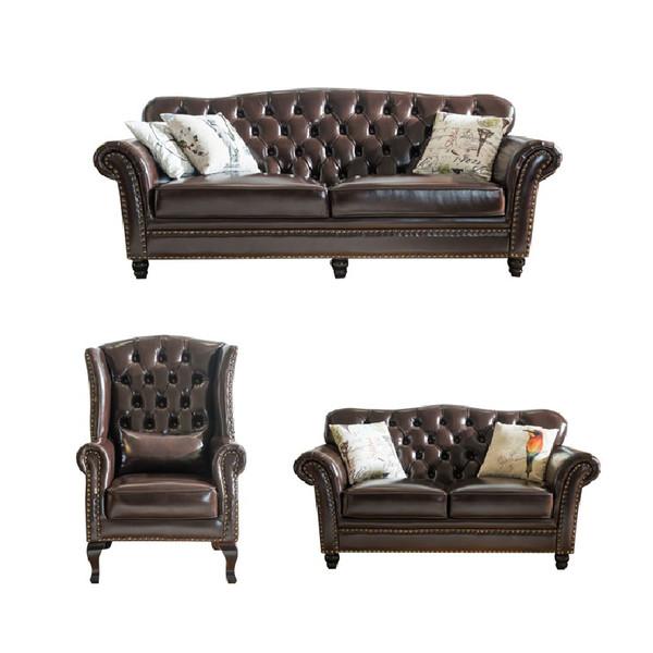 Genuine leather sectional luxury  sofa 1+2+3 set Shiny Bicast leather