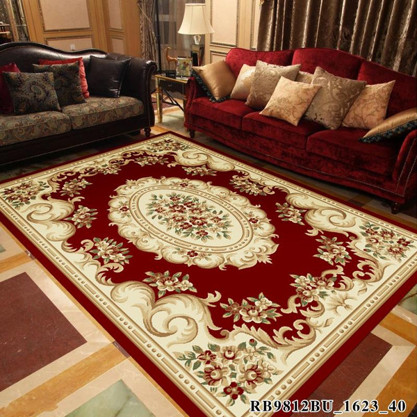 European Classic Red Printed Living Room Rug