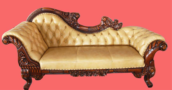 Classic leather 3 seats chaise lounges,LAST FLOOR one,reduced