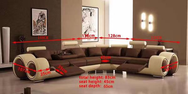 Recliner corner white black LEATHER sofa