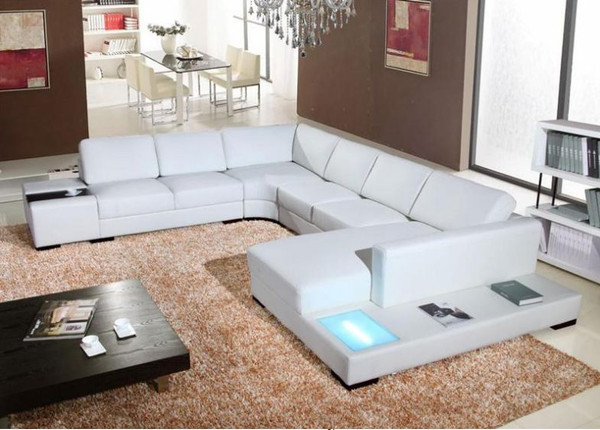 White U shape leather lounges