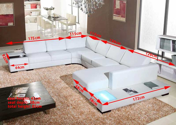 White U shape LEATHER lounges with light