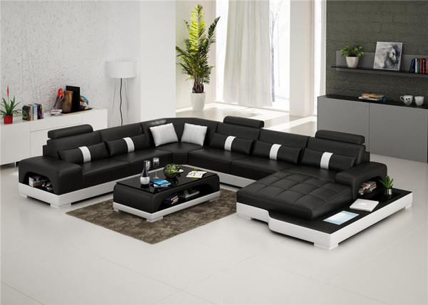 Black U shape LEATHER lounges with light