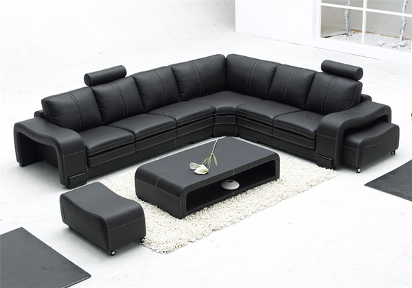 Modern Black L Shape  LEATHER  Lounges+ central table