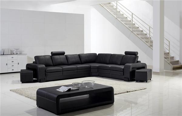 Black L Shape  LEATHER  Lounges+ central table,LAST set!