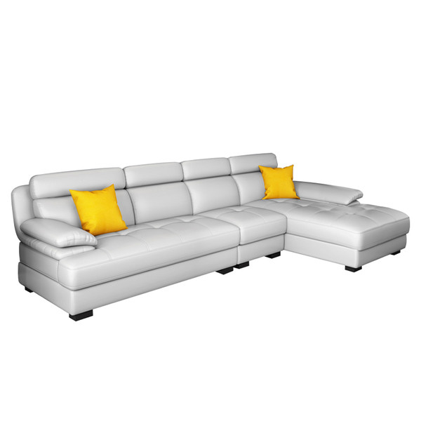 L shaped modern REAL leather living room sofa 3.3M(sg6819)