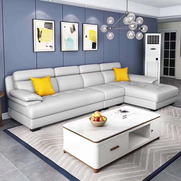 L shaped modern REAL leather living room sofa3.3M(sg6819)