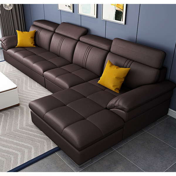 Brwon leather lounges