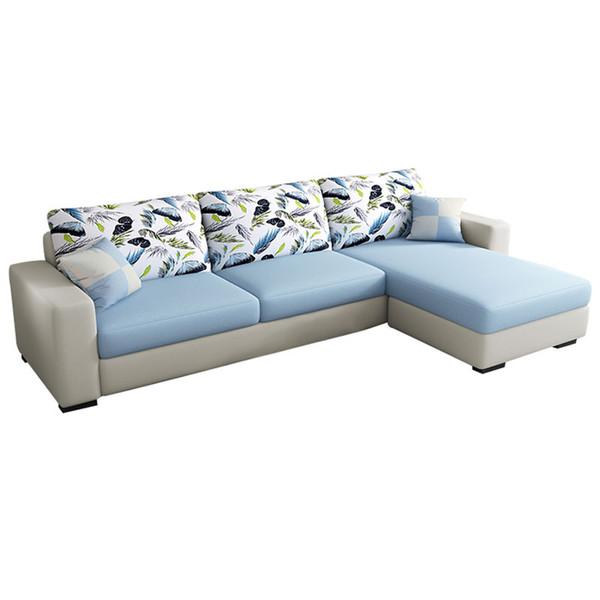 Khaki Fabric sofa revertible chaise convertible 3 seat
