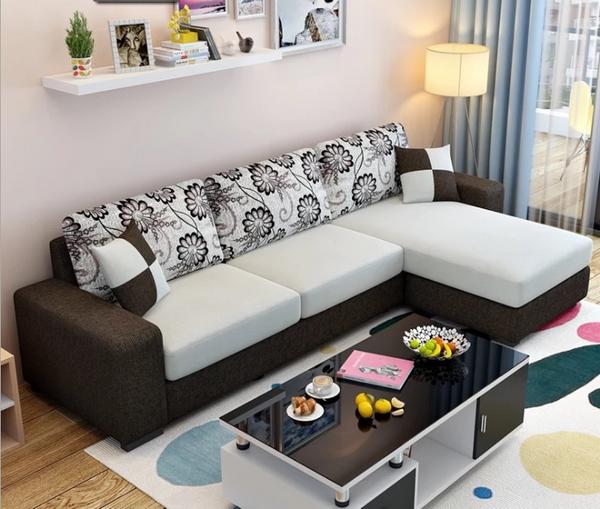 Fabric sofa revertible chaise convertible 3 seat