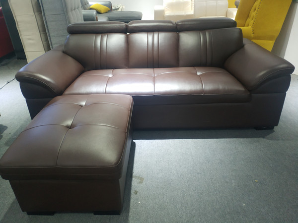 Brown 3 Seat Simulation leather (durable)  lounge + Footstools (TJ5088-003)