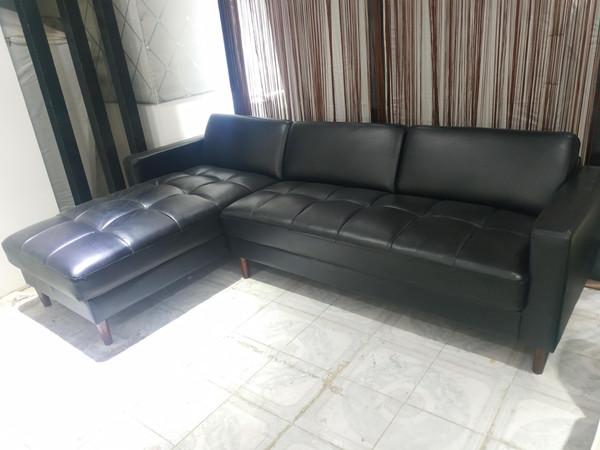 Black Simulation leather  Corner Lounge  (TJRB0310-007)