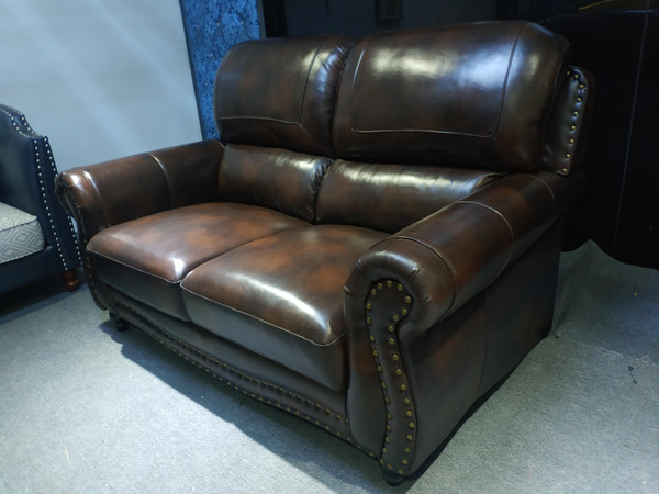Brown Classic European luxury Wax leather sofa sets  (TJG21-013)