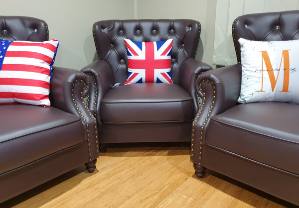 Classic leather couch brwon