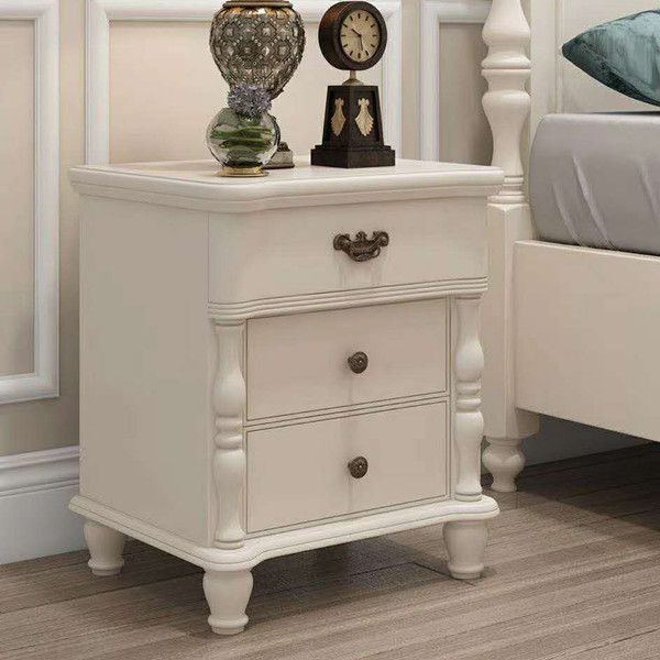French smart 3 drawers bedside table glossy white