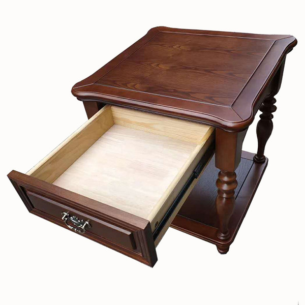 Solid hardwood Square Lamp table with one drawer